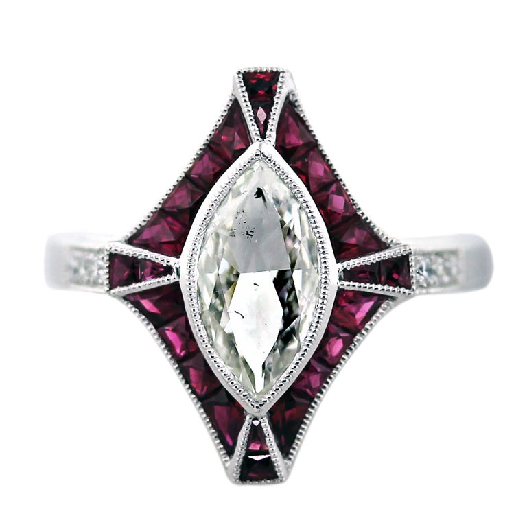 1 Carat Marquise Cut Diamond Platinum Ruby Engagement Ring For