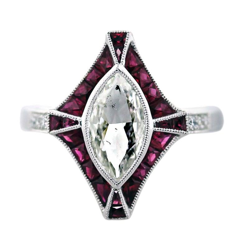 1 Carat Marquise Cut Diamond Platinum Ruby Engagement Ring