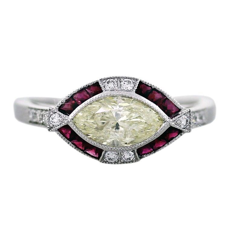Light Yellow Marquise Cut Diamond Platinum Ruby Engagement Ring