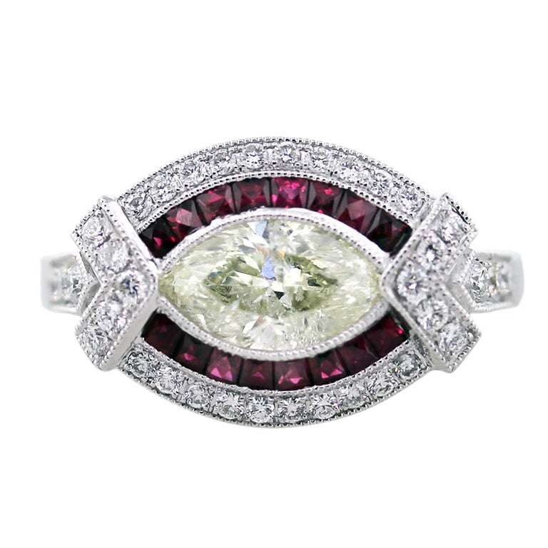 1.01 Carat Marquise Cut Diamond Platinum Ruby Engagement Ring For Sale