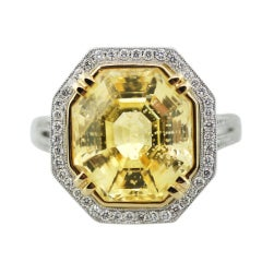 Octagonal Cut Fancy Yellow Sapphire Diamond Platinum Ring