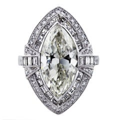 5.06 Carat Marquise Cut Diamond Platinum Engagement Ring