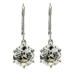 White Gold 5 Carat European Cut Diamond Drop Earrings