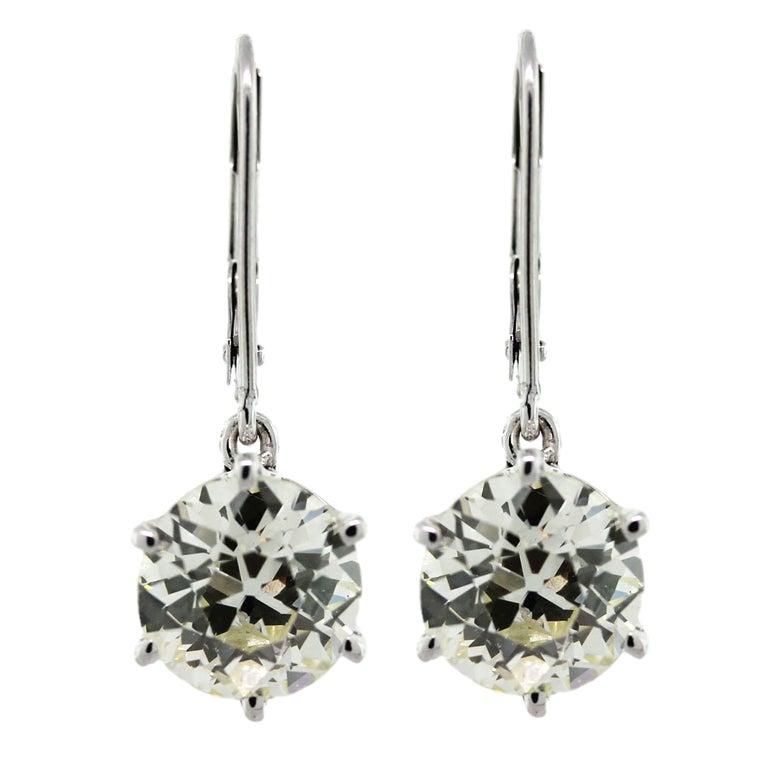 White Gold 5 Carat European Cut Diamond Drop Earrings