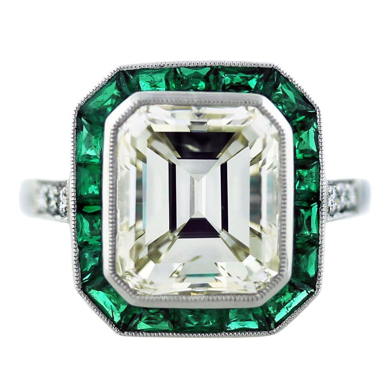 5 Carat Emerald Cut Diamond Emerald Plantinum Engagement Ring