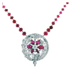 Diamond Platinum Ruby Earring Necklace Pin Set app 6.30 Carats