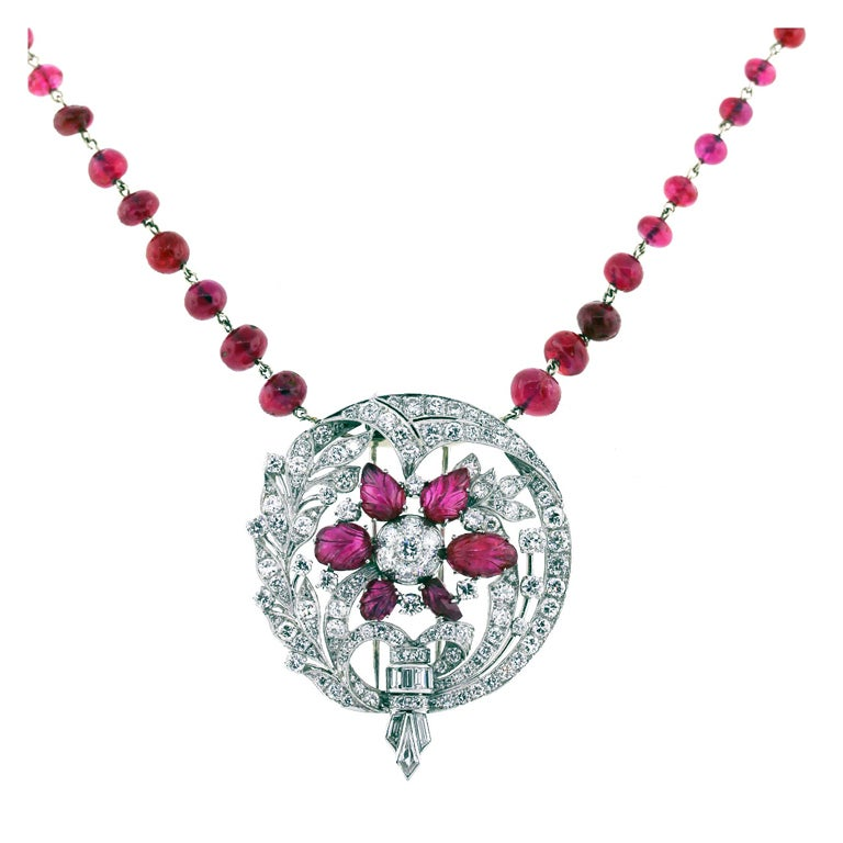 Diamond Platinum Ruby Earring Necklace Pin Set app 6.30 Carats