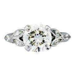 3.32 Carat Round Diamond Engagement Ring Set in Platinum