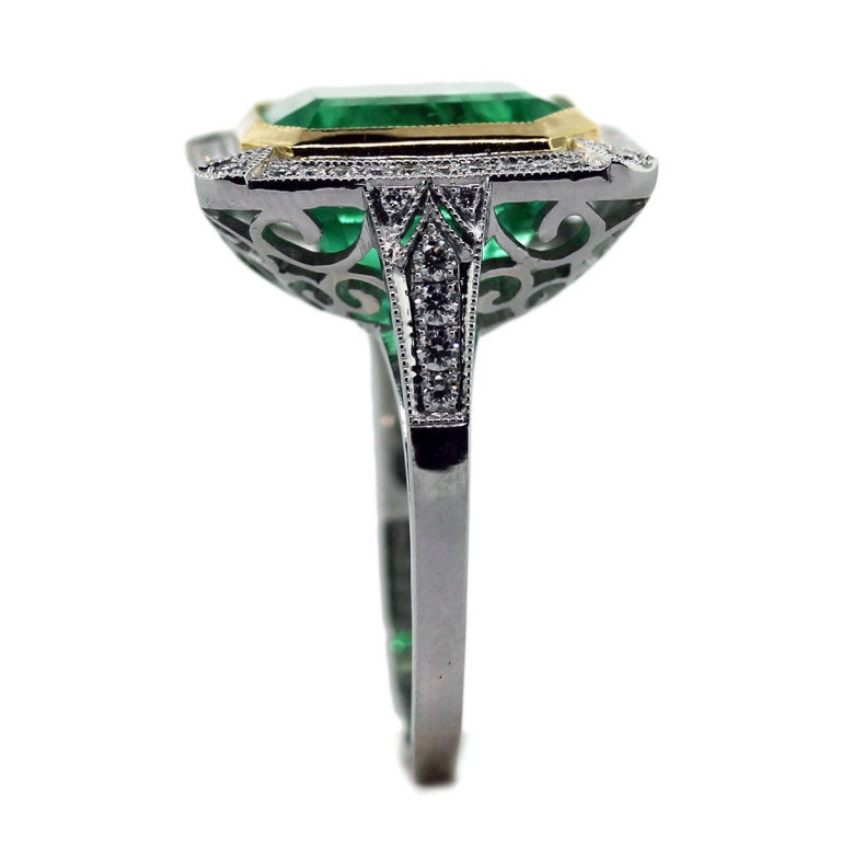 emerald platinum yellow gold ring at 1stdibs