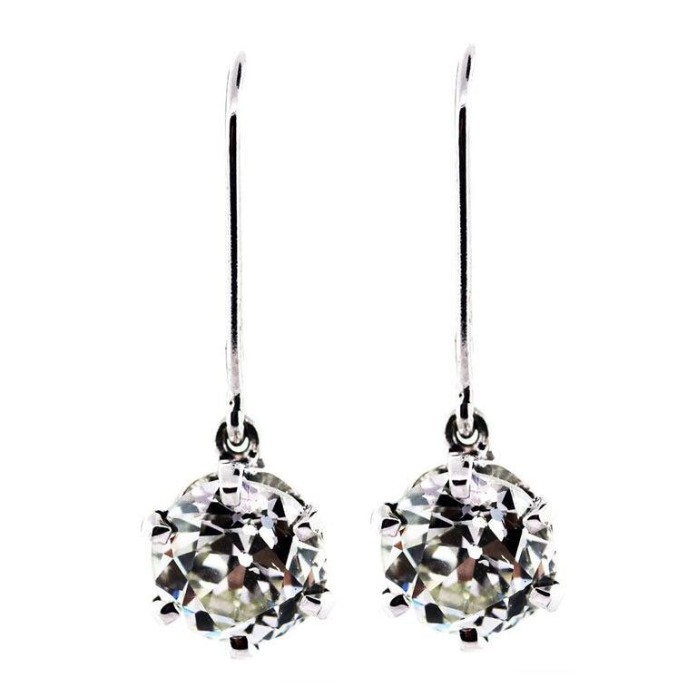 3 Carat Total European Cut Diamond Dangle Drop Earrings