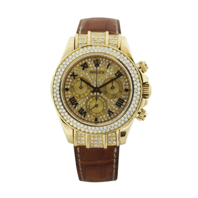 ROLEX Yellow Gold and After-Market Diamond Rolex Daytona Wristwatch ...