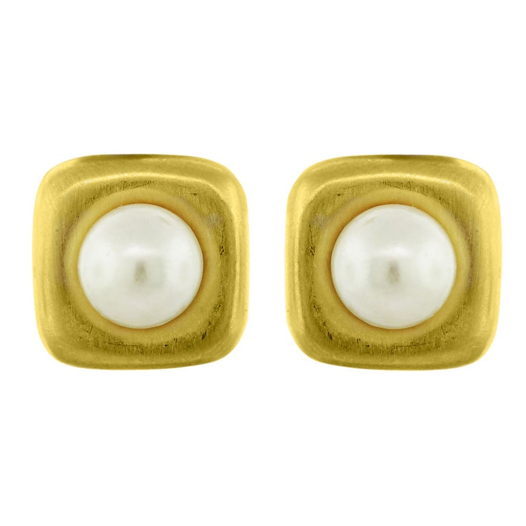 ANGELA CUMMINGS 18k Yellow Gold and Pearl Ear-clip Earrings