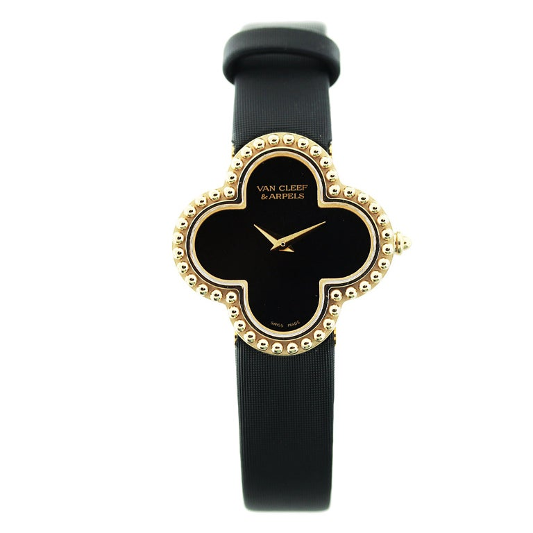 Van Cleef And Arpels Lady S Yellow Gold And Onyx Alhambra