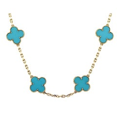 Van Cleef Vintage Alhambra Turquoise & 18K Yellow Gold Necklace