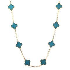 VAN CLEEF Vintage Alhambra Turquoise & 18K Gold Long Necklace