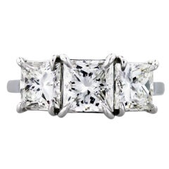 Princess Cut Diamond Three-Stone Engagement Ring with GIA