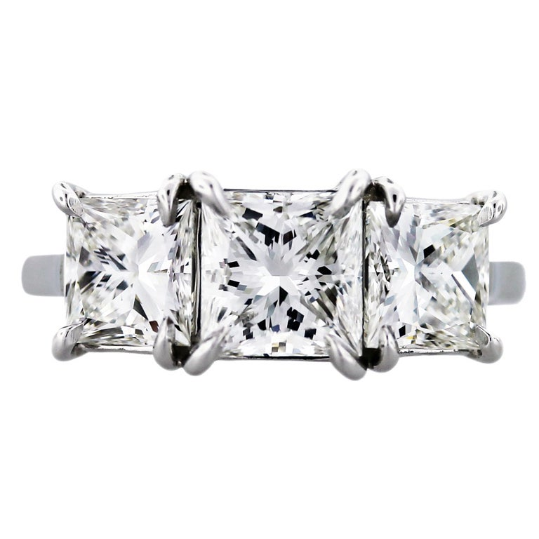 Princess Cut Diamond Three-Stone Engagement Ring with GIA For Sale