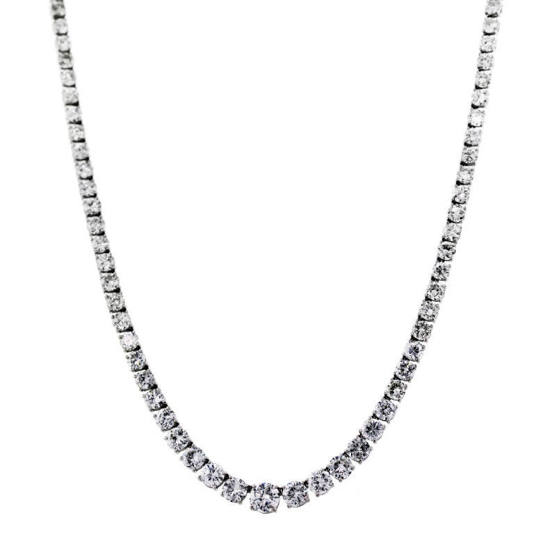 "There are Approximately 25ctw of Diamonds, G/H in Color and VS/SI in Clarity. Stones are set in an 18K White Gold Setting. Necklace length is 15.5"". Clasp is Tongue and Hidden Box Lock with Safety (Flower Design."