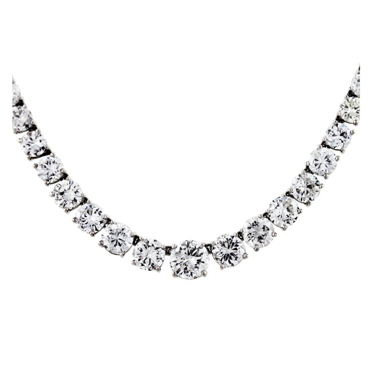 25 Carat Diamond  White Gold Diamond Tennis Riviera Necklace For Sale