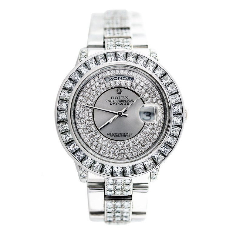 ROLEX White Gold Day-Date Wristwatch with After-Market Diamonds image 2