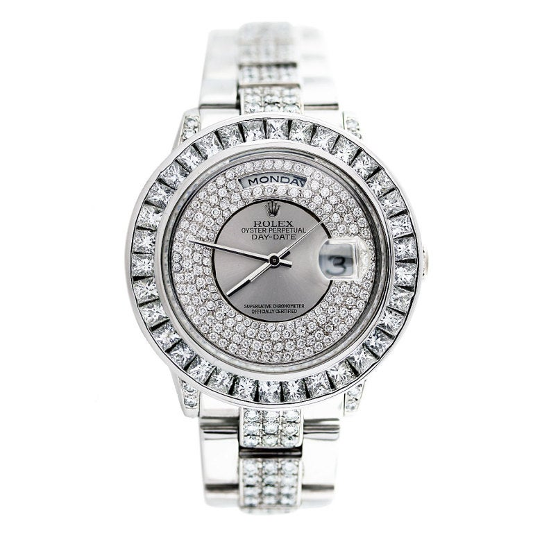 ROLEX White Gold Day-Date Wristwatch with After-Market Diamonds image 6