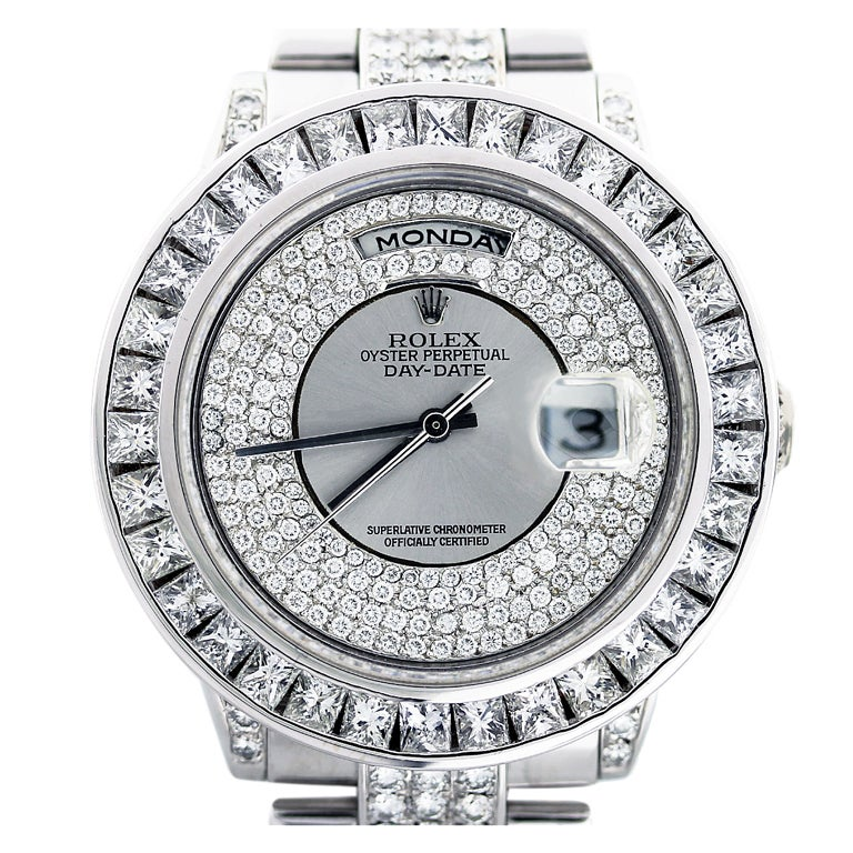 ROLEX White Gold Day-Date Wristwatch with After-Market Diamonds