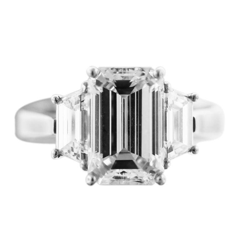 3 Carat Emerald Cut Diamond Engagement Ring at 1stdibs