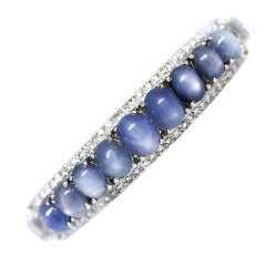 Platinum Star Sapphire and Diamond Bracelet