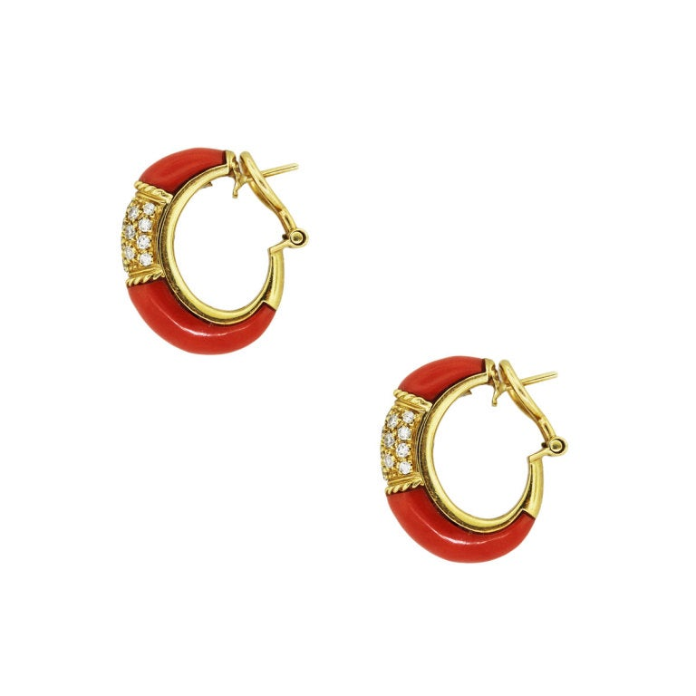 yellow gold coral and clip earrings at 1stdibs