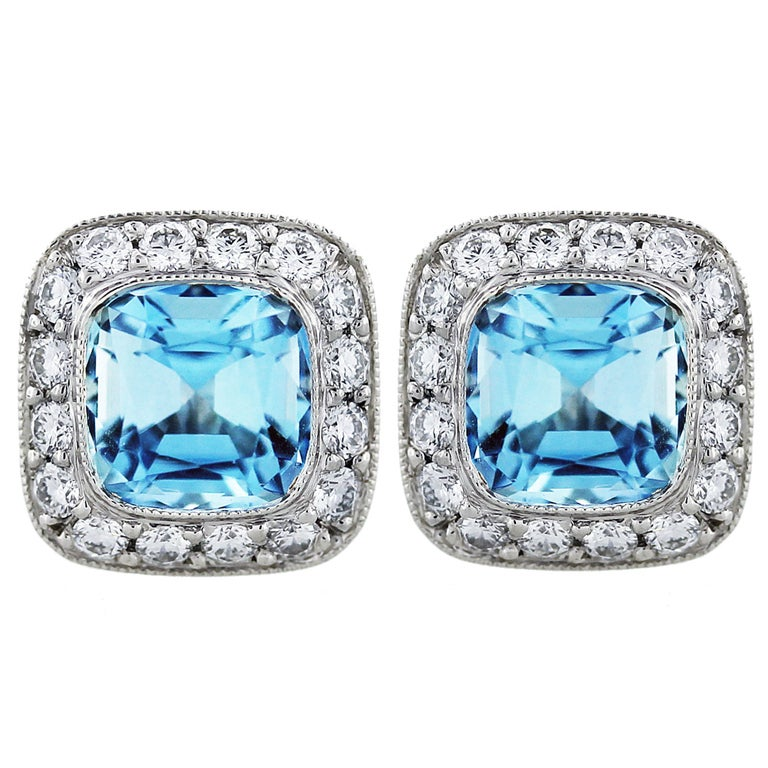 TIFFANY & CO. Legacy Aquamarine, Diamond and Platinum Earrings