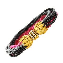 Interchangable Ruby Onyx Hematite Pearl Gold Bracelet