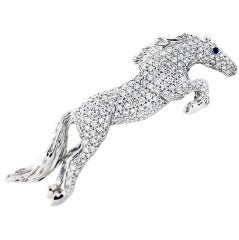 White Gold Diamond and Sapphire Horse Pin