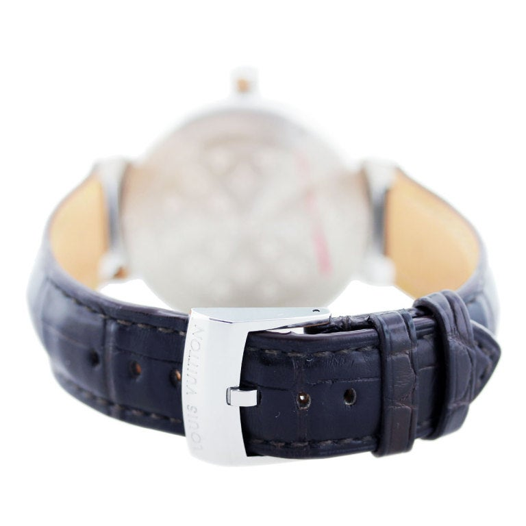 louis vuitton stainless steel and diamond tambour q111g watch at 1stdibs
