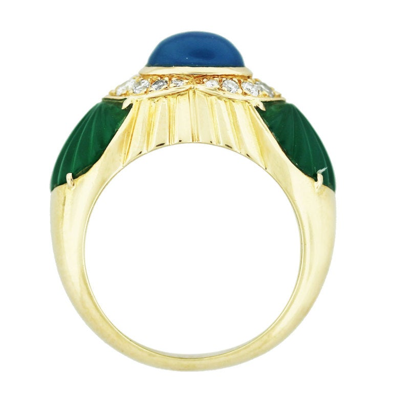 cartier yellow gold chalcedony chrysoprase and