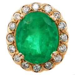 Emerald Diamond and Yellow Gold  Ring