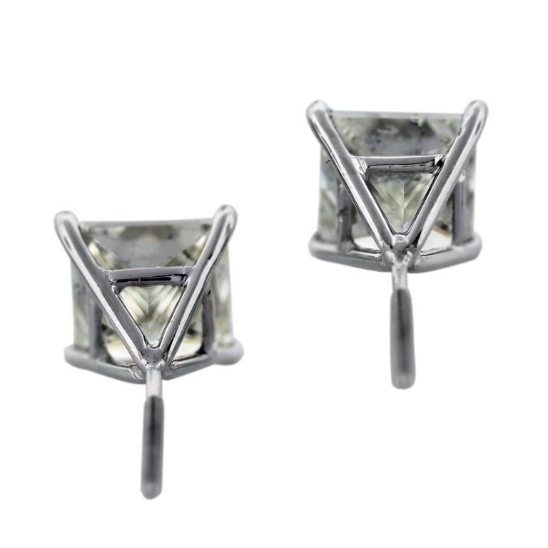 White Gold Princess Cut Diamond 8.06ctw Stud Earrings 3