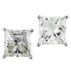 White Gold Princess Cut Diamond 8.06ctw Stud Earrings