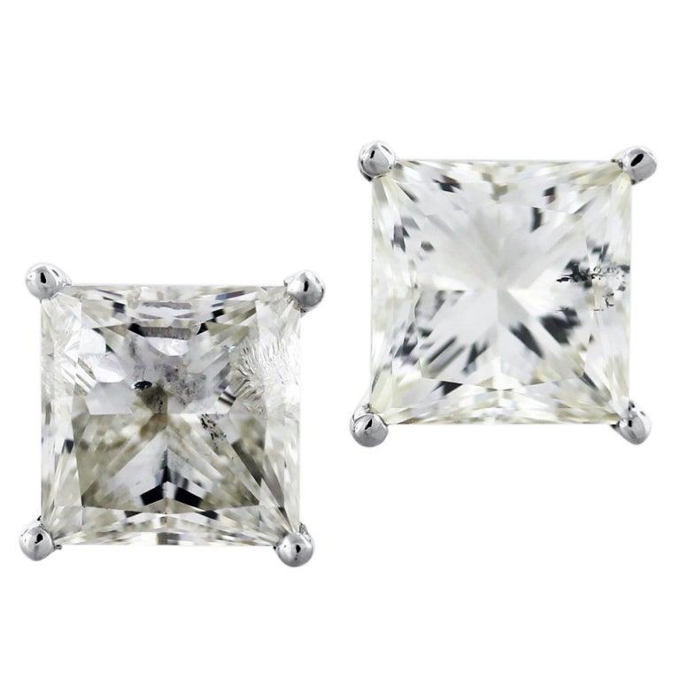 White Gold Princess Cut Diamond 8.06ctw Stud Earrings 1