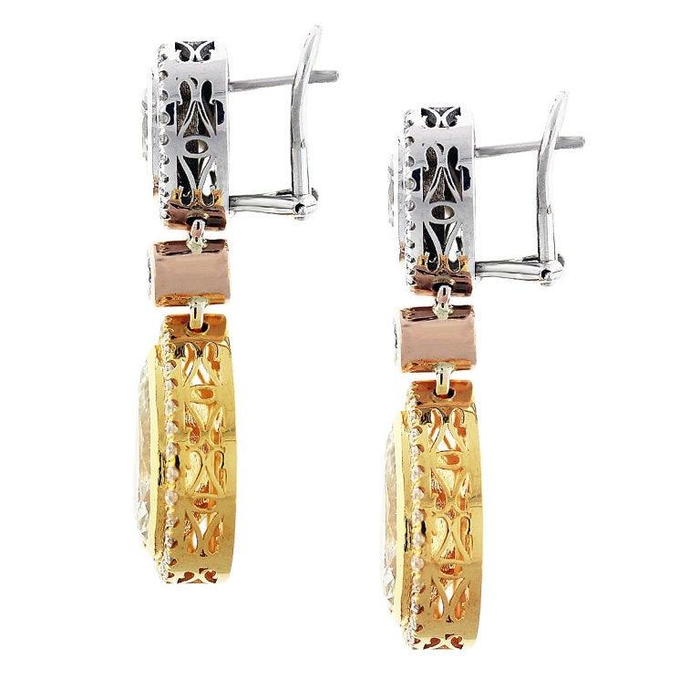 11 Carat Fancy Yellow Diamond Pear Shape Tri Color Drop Earrings 2