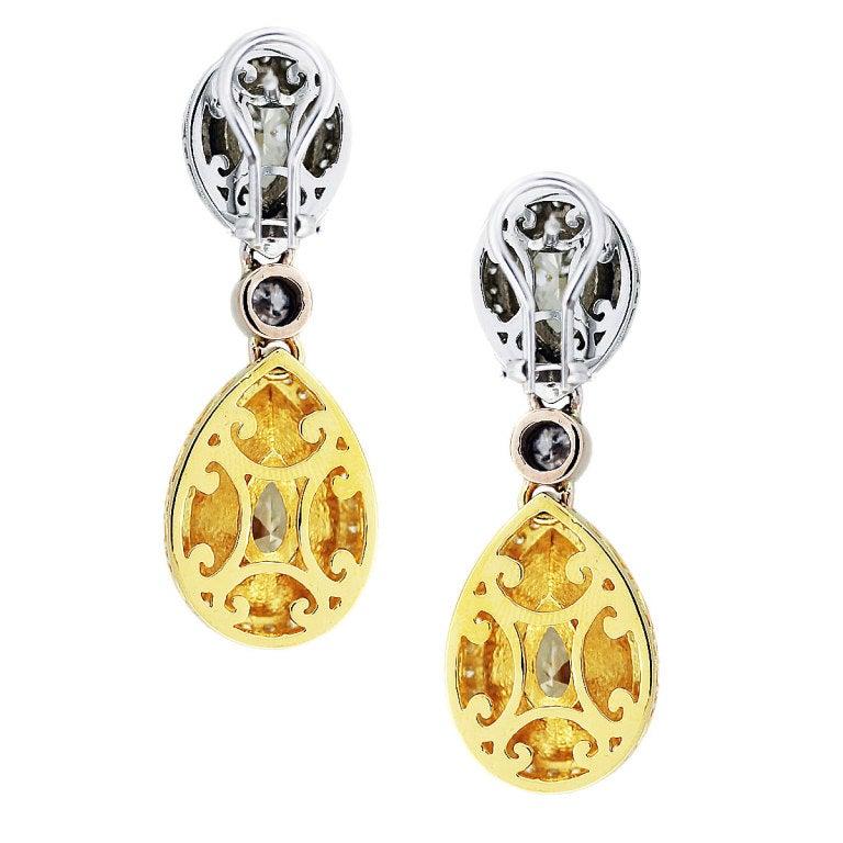 Women's 11 Carat Fancy Yellow Diamond Pear Shape Tri Color Drop Earrings For Sale