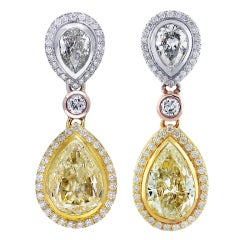11 Carat Fancy Yellow Diamond Pear Shape Tri Color Drop Earrings