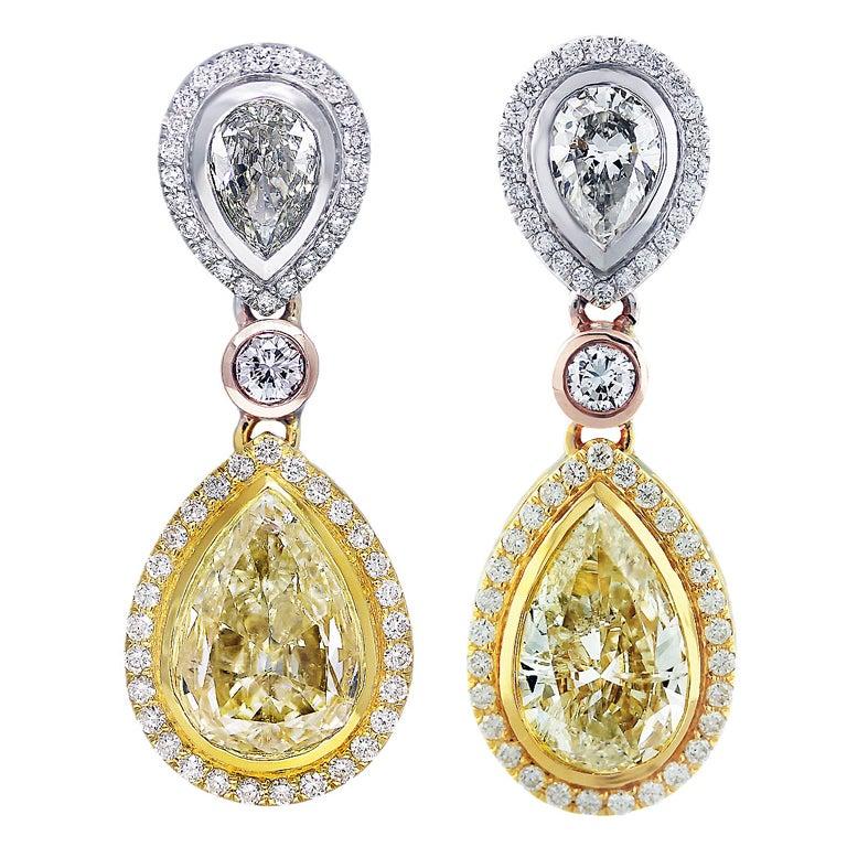 11 Carat Fancy Yellow Diamond Pear Shape Tri Color Drop Earrings For Sale