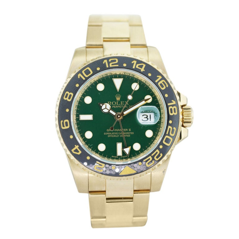 rolex yellow gold gmt master ii green dial watch ref. Black Bedroom Furniture Sets. Home Design Ideas