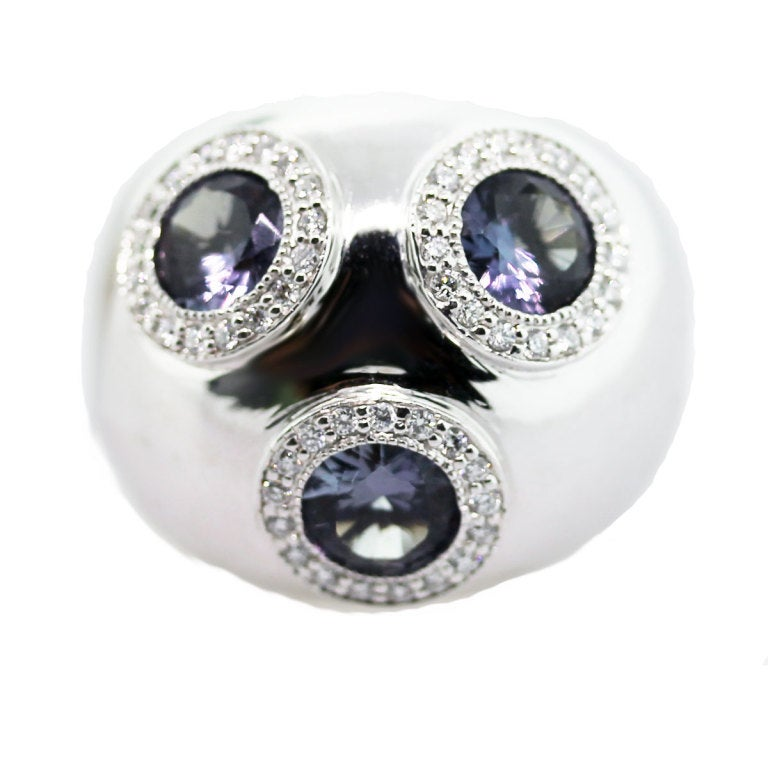 alexandrite white gold dome ring for sale at 1stdibs