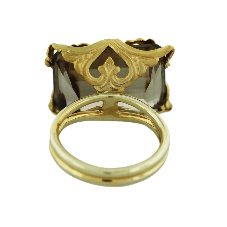 yellow gold smoky quartz ring at 1stdibs