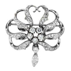 White Gold Diamond Pin with Round and Marquise Cut Diamonds