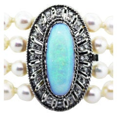 J FUSET Opal, Diamond, White Gold ,Cultured Pearl Wide Bracelet