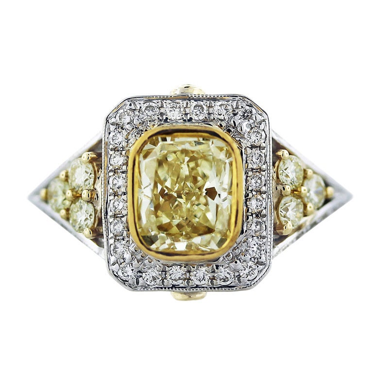 1 71 Carat Cushion Cut Fancy Yellow Diamond Engagement Ring at 1stdibs