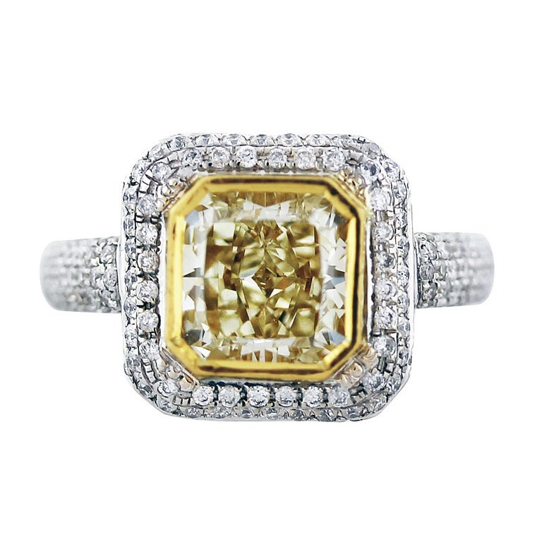 2 26 Carat Fancy Yellow Cushion Cut Diamond Engagement Ring at 1stdibs