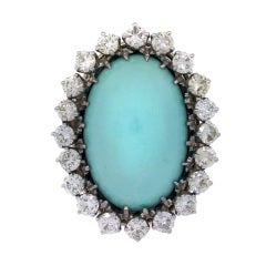 White Gold Turquoise and Diamond Dinner Ring